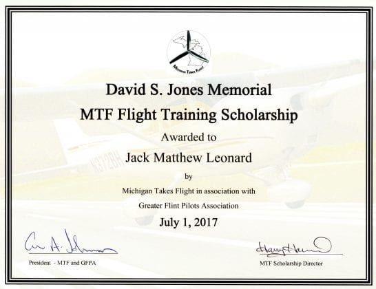 Michigan takes flight presents initial david s jones for First flight certificate template