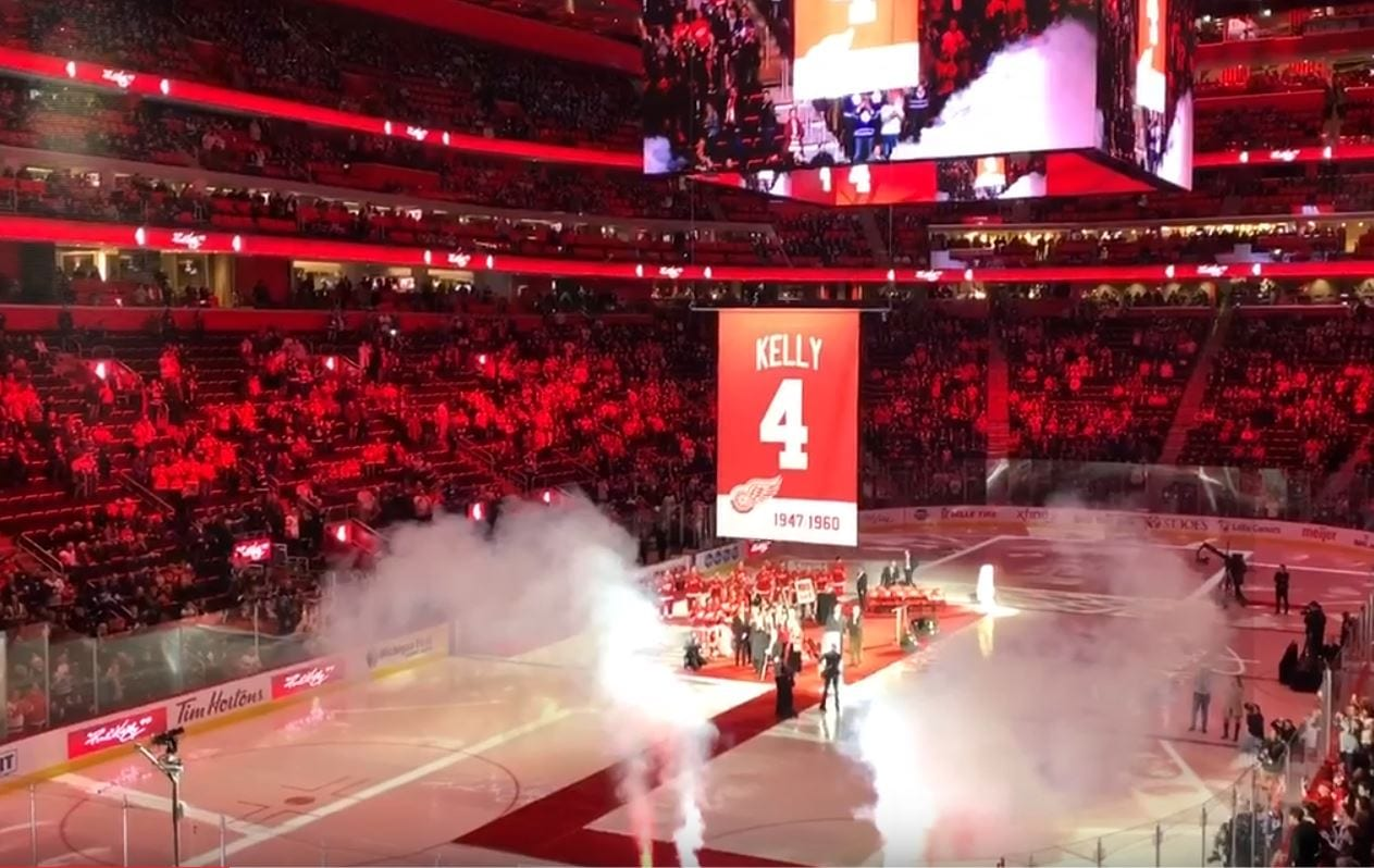 Red Kellys Number 4 Jersey Raises to the Roof of Little Caesars Arena